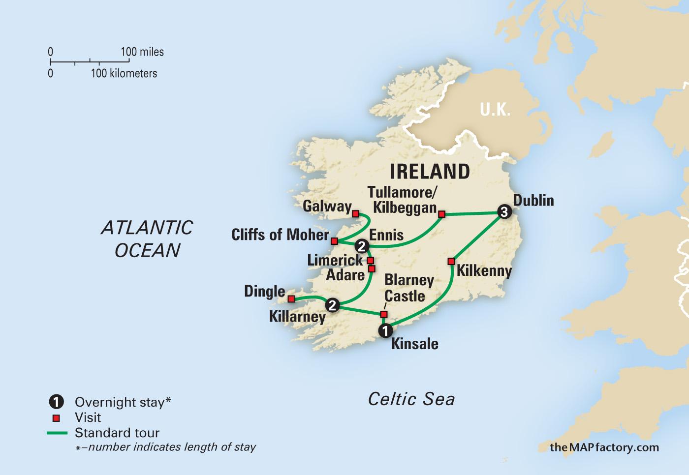 Amazing Ireland Amazing Journeys - Ireland on map