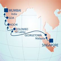 Map Of Jewels The Indian Ocean Singapore Malaysia Sri Lanka And Southern