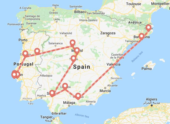 Map Of Jewish Spain.Map Of Jewish Heritage Tour Of Spain Portugal Amazing Journeys